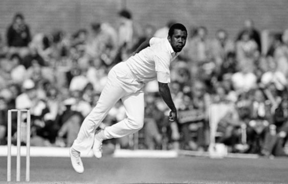 Malcolm Marshall bowling for the West Indies against Lancashire at Aigburth Cricket Ground in Liverpool on 29th May 1984.   (Bob Thomas/Getty Images).